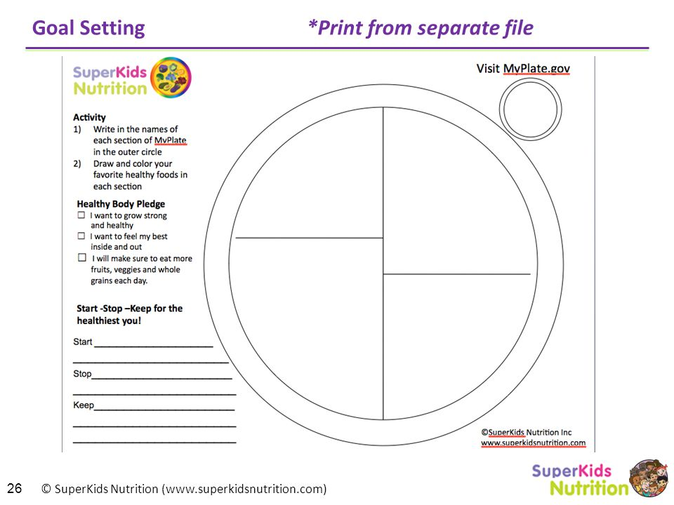 © SuperKids Nutrition (www.superkidsnutrition.com) Goal Setting *Print from separate file 26