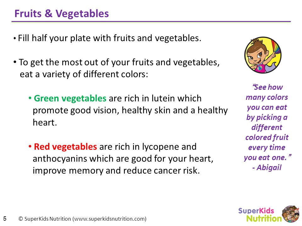 © SuperKids Nutrition (www.superkidsnutrition.com) Fruits & Vegetables Fill half your plate with fruits and vegetables.