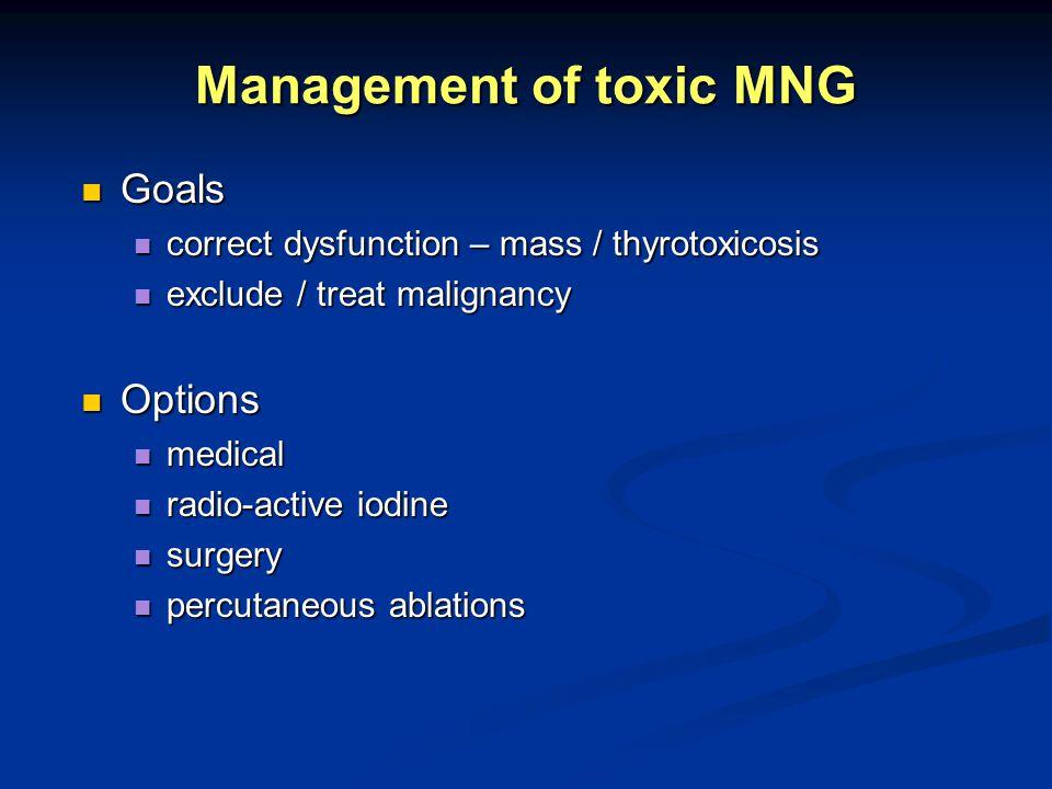 Management of toxic MNG Goals Goals correct dysfunction – mass / thyrotoxicosis correct dysfunction – mass / thyrotoxicosis exclude / treat malignancy