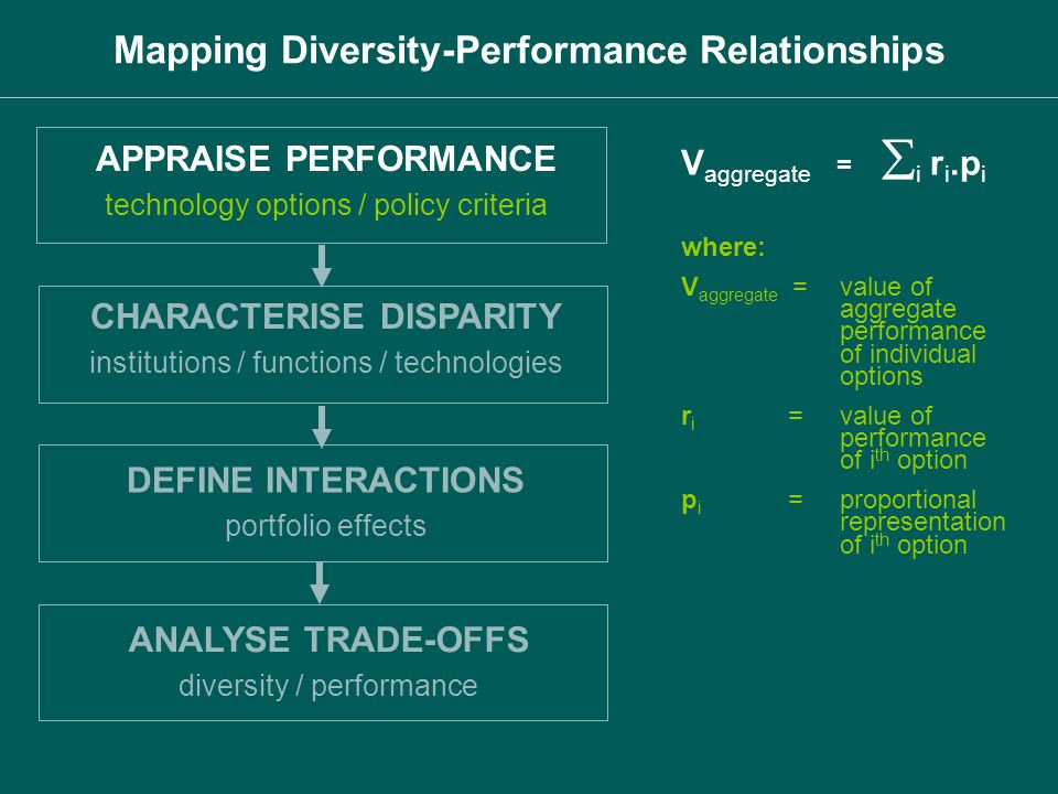 APPRAISE PERFORMANCE technology options / policy criteria CHARACTERISE DISPARITY institutions / functions / technologies DEFINE INTERACTIONS portfolio