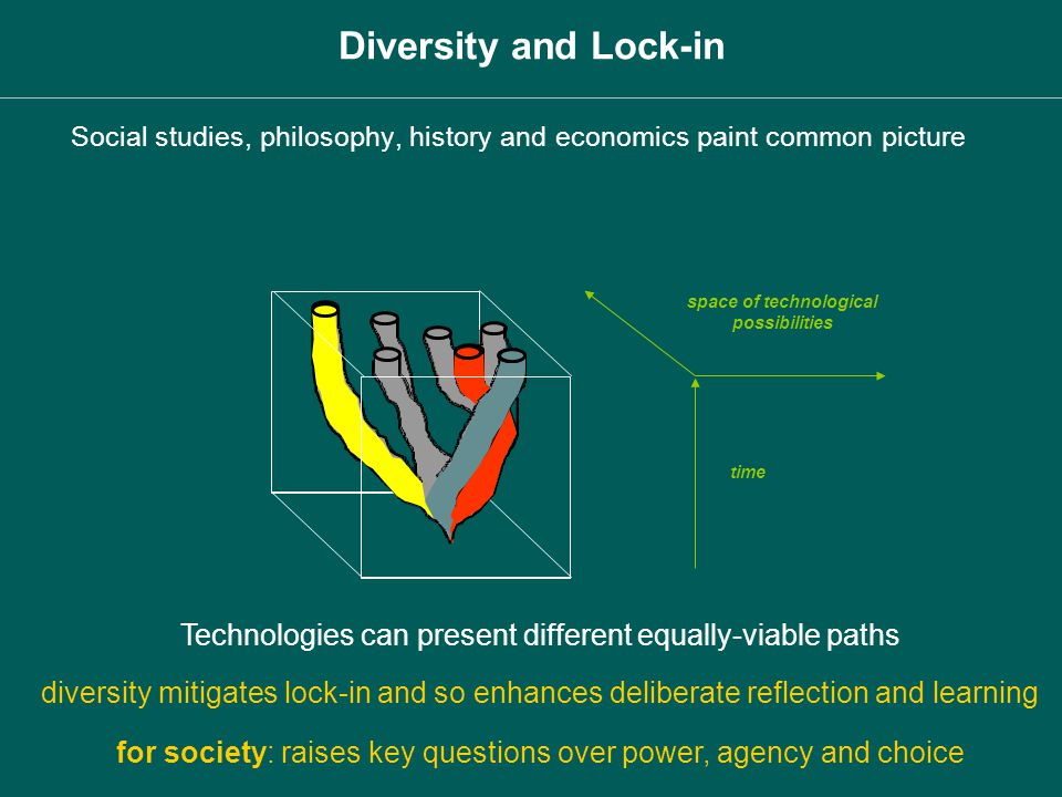 space of technological possibilities time Technologies can present different equally-viable paths diversity mitigates lock-in and so enhances delibera