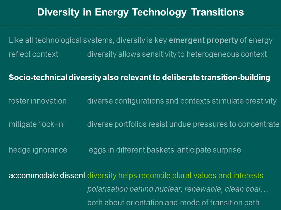 Diversity in Energy Technology Transitions foster innovationdiverse configurations and contexts stimulate creativity mitigate lock-indiverse portfolio