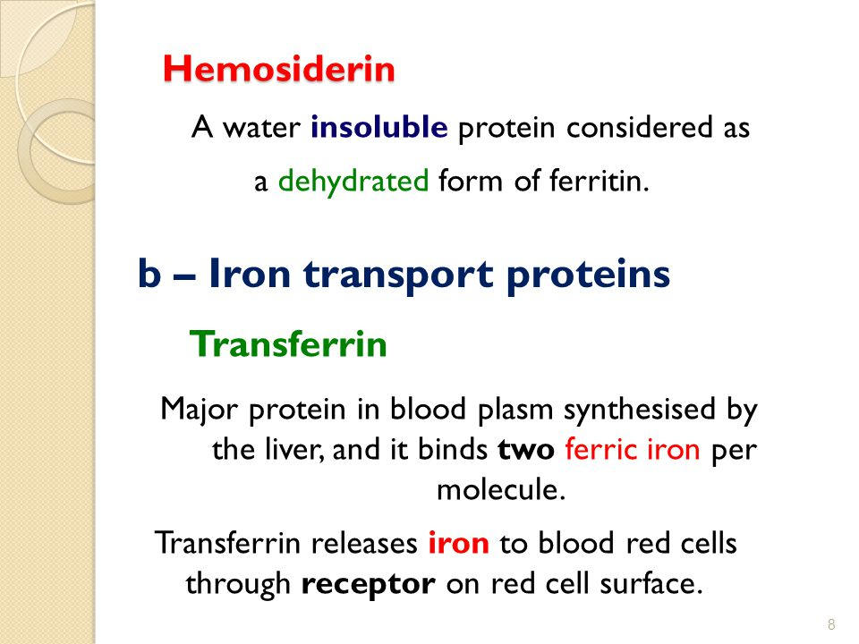 Hemosiderin Hemosiderin A water insoluble protein considered as a dehydrated form of ferritin.