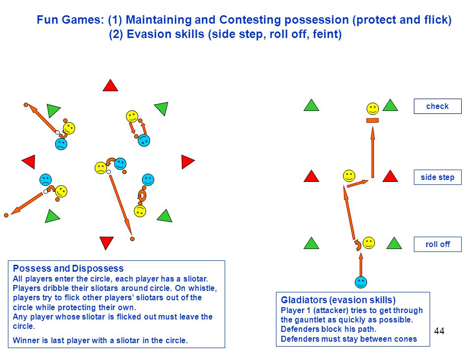 44 Fun Games: (1) Maintaining and Contesting possession (protect and flick) (2) Evasion skills (side step, roll off, feint) roll off side step Possess