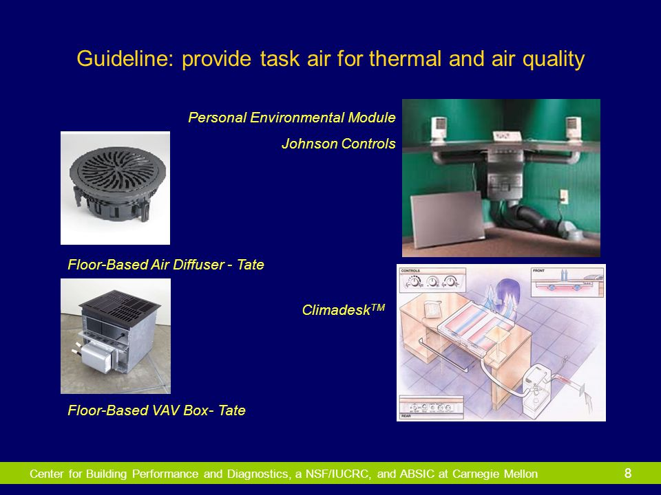 Center for Building Performance and Diagnostics, a NSF/IUCRC, and ABSIC at Carnegie Mellon 8 Guideline: provide task air for thermal and air quality P