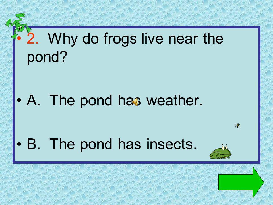 1. Where do frogs live A. Near the pond B. Near the ocean