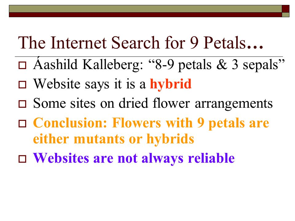 The Internet Search for 9 Petals… Áashild Kalleberg: 8-9 petals & 3 sepals Website says it is a hybrid Some sites on dried flower arrangements Conclusion: Flowers with 9 petals are either mutants or hybrids Websites are not always reliable