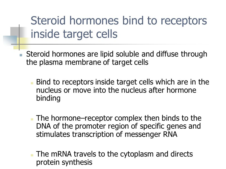 Steroid hormones bind to receptors inside target cells Steroid hormones are lipid soluble and diffuse through the plasma membrane of target cells Bind