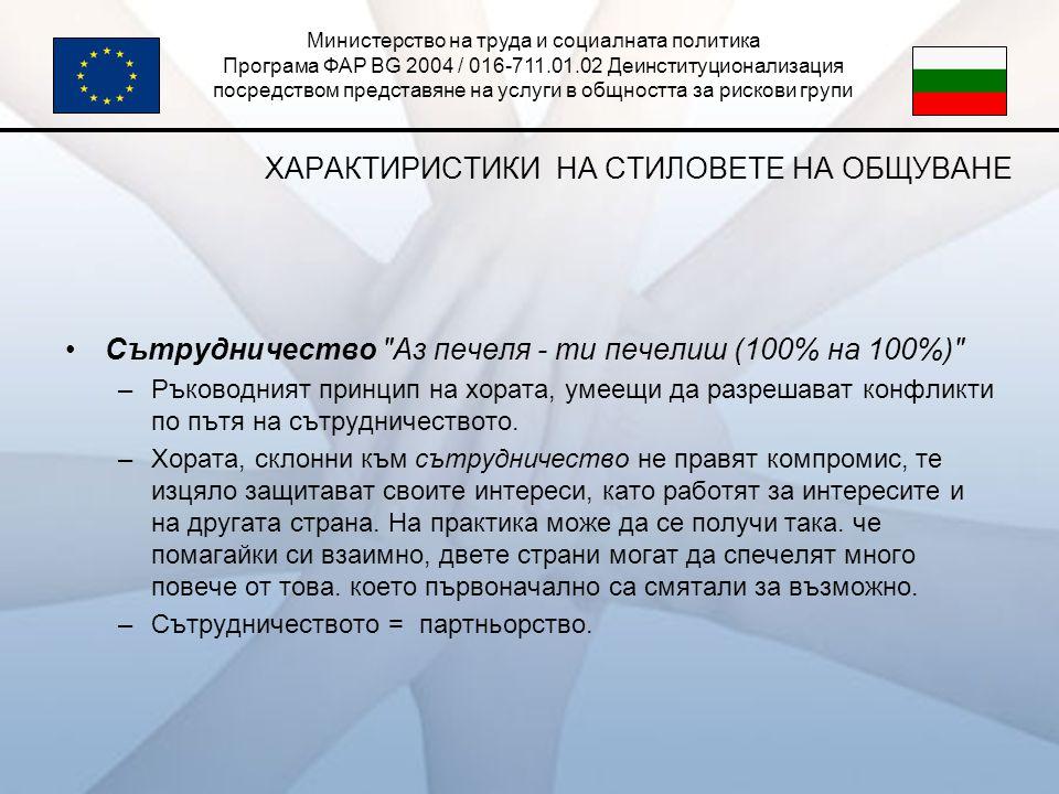 Министерство на труда и социалната политика Програма ФАР BG 2004 / 016-711.01.02 Деинституционализация посредством представяне на услуги в общността за рискови групи ХАРАКТИРИСТИКИ НА СТИЛОВЕТЕ НА ОБЩУВАНЕ •Сътрудничество Аз печеля - ти печелиш (100% на 100%) –Ръководният принцип на хората, умеещи да разрешават конфликти по пътя на сътрудничеството.