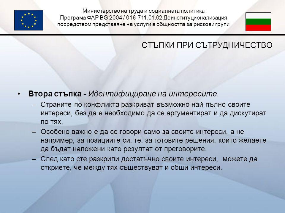 Министерство на труда и социалната политика Програма ФАР BG 2004 / 016-711.01.02 Деинституционализация посредством представяне на услуги в общността за рискови групи СТЪПКИ ПРИ СЪТРУДНИЧЕСТВО •Втора стъпка - Идентифициране на интересите.