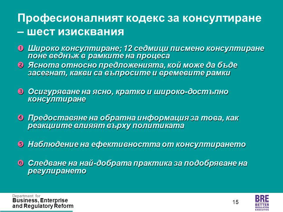 Department for Business, Enterprise and Regulatory Reform 15 Професионалният кодекс за консултиране – шест изисквания  Широко консултиране; 12 седмиц