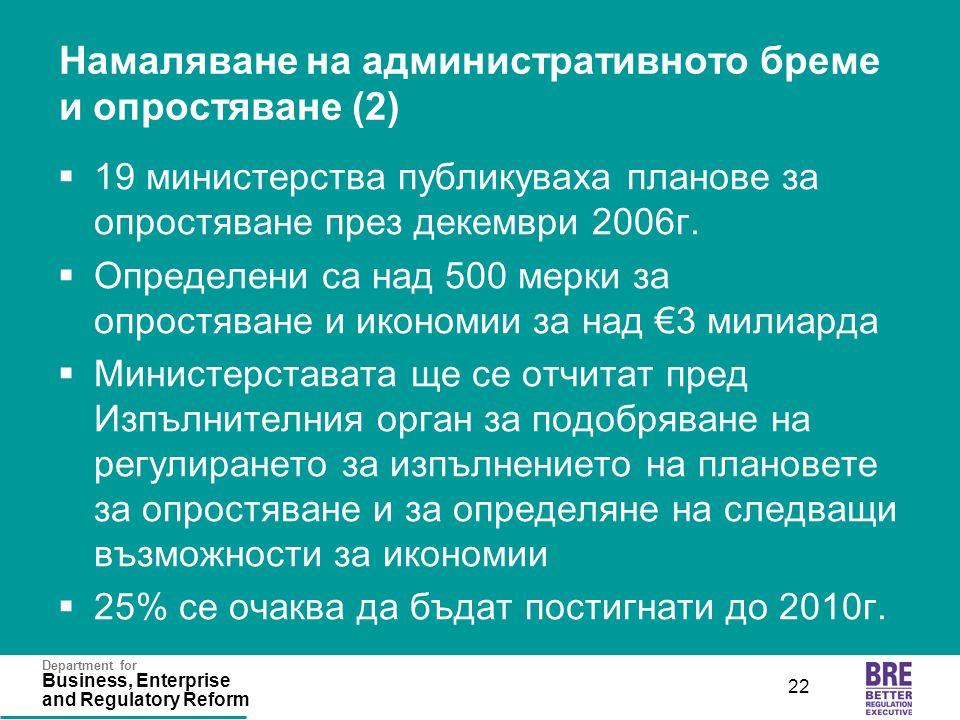 Department for Business, Enterprise and Regulatory Reform 22 Намаляване на административното бреме и опростяване (2)  19 министерства публикуваха пла