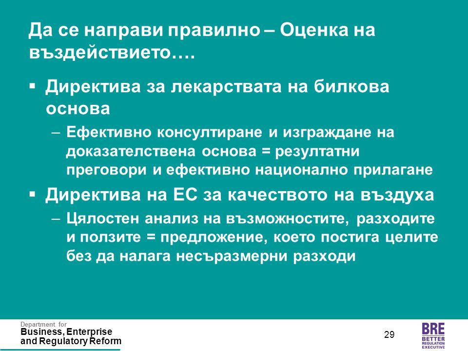 Department for Business, Enterprise and Regulatory Reform 29 Да се направи правилно – Оценка на въздействието….
