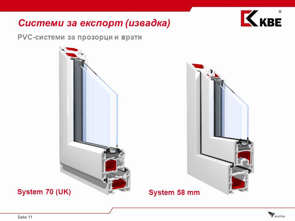 Seite 11 Системи за експорт (извадка) System 58 mm PVC-системи за прозорци и врати System 70 (UK)