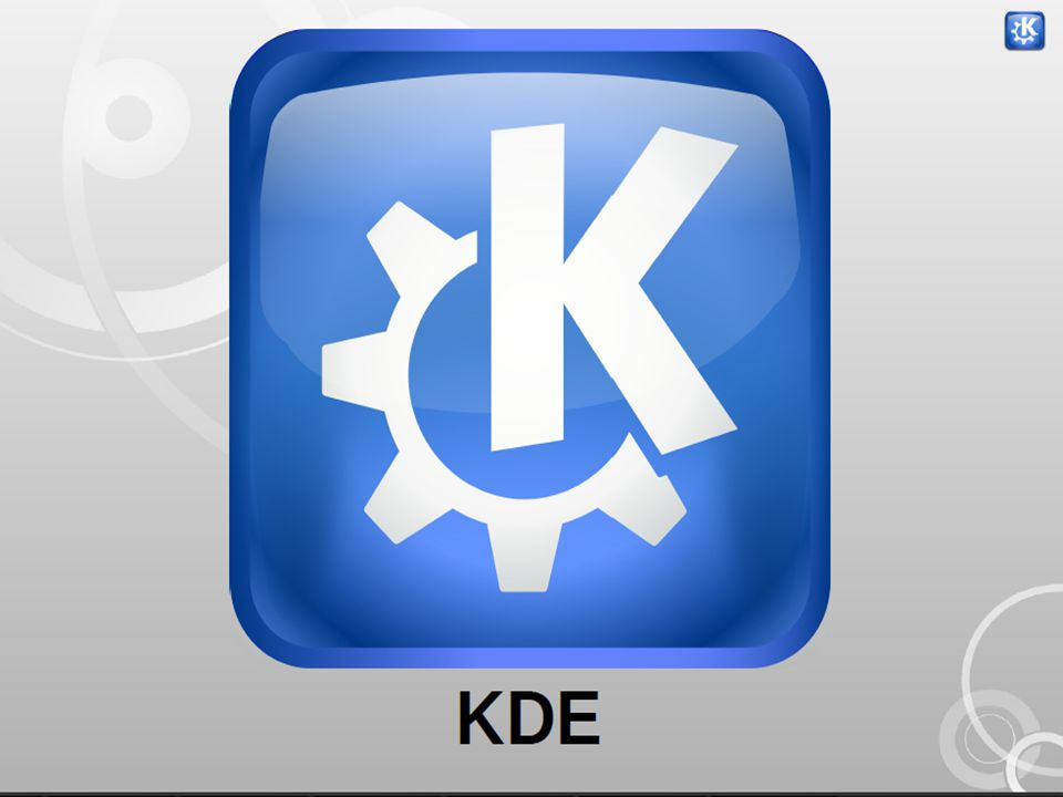 1) K Desktop Environment K desktop environment (www.kde.org)www.kde.org • Developed by Mathias Ettrich on 1996 October • Kool Desktop Environment • In addition to all the features you would expect to find in a complete desktop environment (window managers, toolbars, panels, menus, keybindings,icons, and so on).