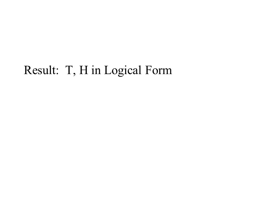 Result: T, H in Logical Form