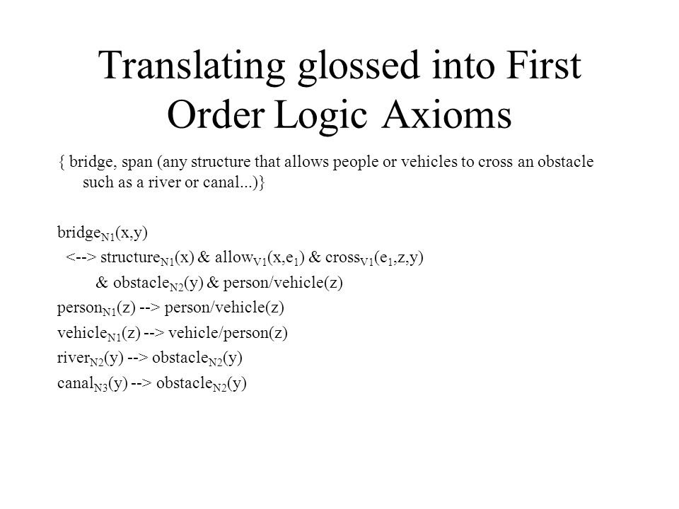 Translating glossed into First Order Logic Axioms { bridge, span (any structure that allows people or vehicles to cross an obstacle such as a river or canal...)} bridge N1 (x,y)‏ structure N1 (x) & allow V1 (x,e 1 ) & cross V1 (e 1,z,y) & obstacle N2 (y) & person/vehicle(z)‏ person N1 (z) --> person/vehicle(z)‏ vehicle N1 (z) --> vehicle/person(z)‏ river N2 (y) --> obstacle N2 (y)‏ canal N3 (y) --> obstacle N2 (y)