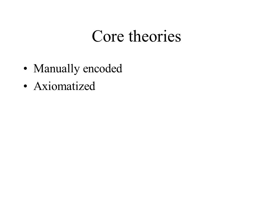 Core theories •Manually encoded •Axiomatized