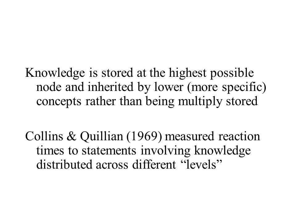 Knowledge is stored at the highest possible node and inherited by lower (more specific) concepts rather than being multiply stored Collins & Quillian (1969) measured reaction times to statements involving knowledge distributed across different levels