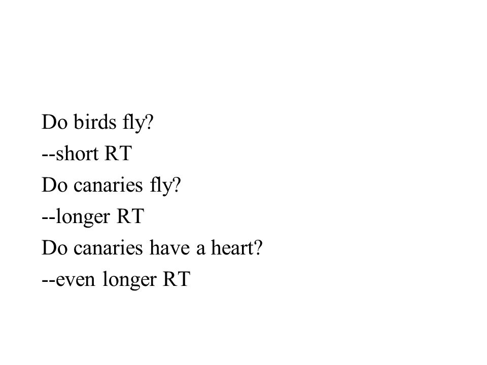 Do birds fly --short RT Do canaries fly --longer RT Do canaries have a heart --even longer RT