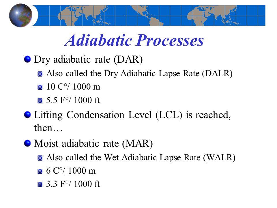 Adiabatic Processes Dry adiabatic rate (DAR) Also called the Dry Adiabatic Lapse Rate (DALR) 10 C°/ 1000 m 5.5 F°/ 1000 ft Lifting Condensation Level