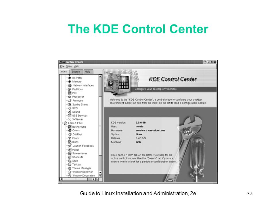 Guide to Linux Installation and Administration, 2e32 The KDE Control Center