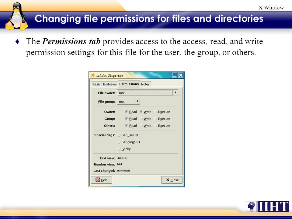 X Window ♦ The Permissions tab provides access to the access, read, and write permission settings for this file for the user, the group, or others.