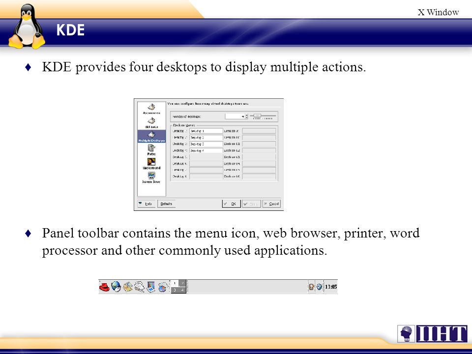 X Window ♦ KDE provides four desktops to display multiple actions.