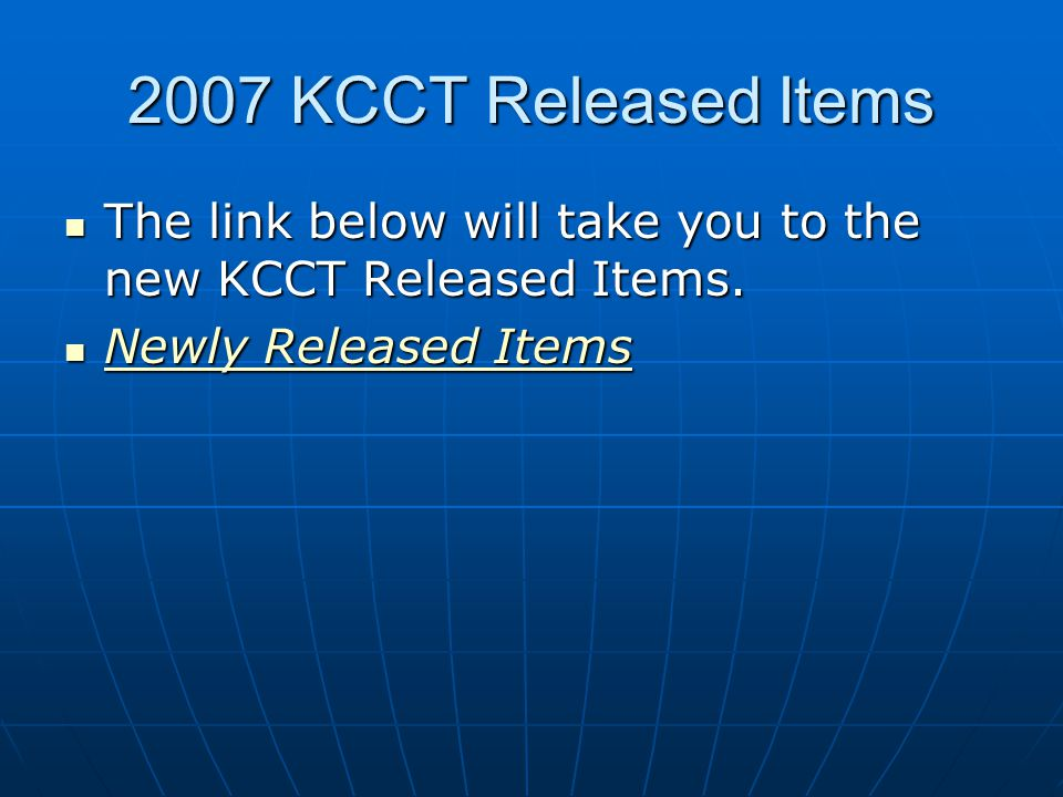  The link below will take you to the new KCCT Released Items.