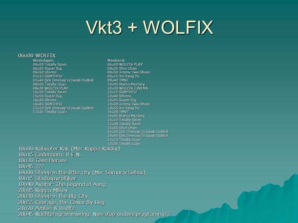 Vkt3 + WOLFIX 06u00 WOLFIX Weekdagen:Weekend: 06u00 Totally Spies06u00 WOLFIX PLAY 06u25 Super Big 08u25 Shin Chan 06u50 Shinzo08u50 Jimmy Two Shoes 0