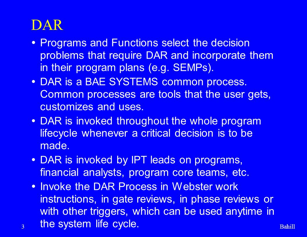 Bahill4 Webster BAE's common processes are established by SP.12.15.02.