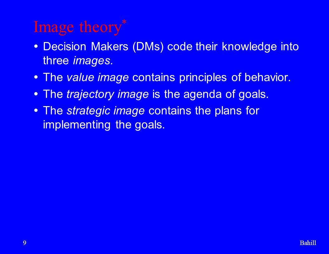 Bahill20 Image theory for organizations *  Decisions in organizations are made by individual DMs, often forming a consensus.
