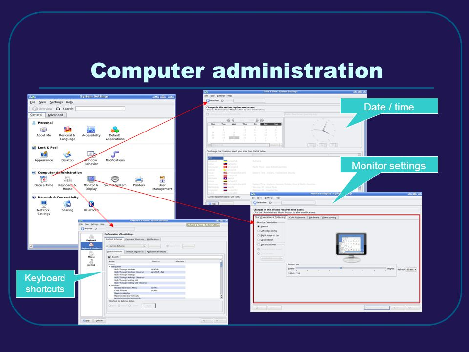 Computer administration Date / time Monitor settings Keyboard shortcuts
