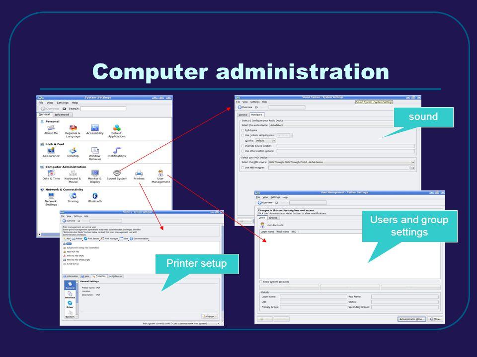Computer administration sound Users and group settings Printer setup
