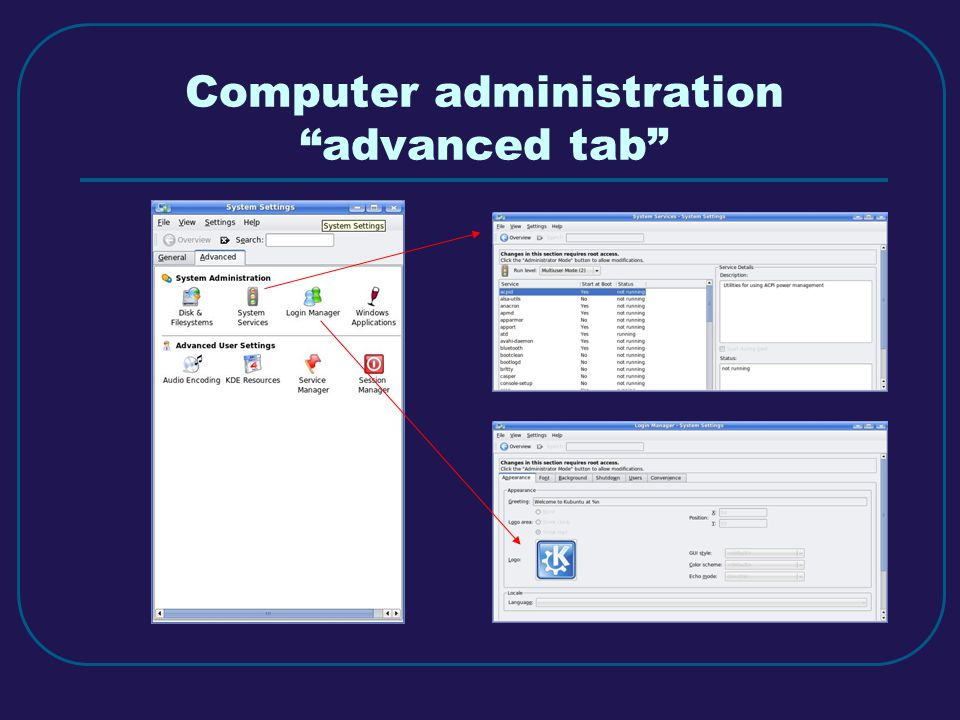 Computer administration advanced tab