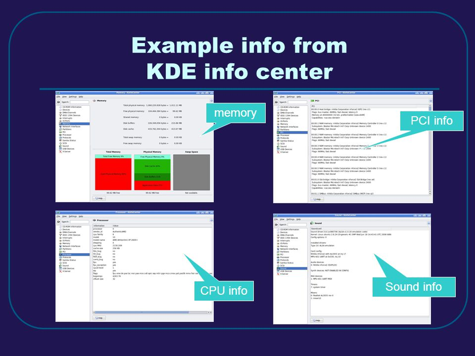Example info from KDE info center memory PCI info CPU info Sound info