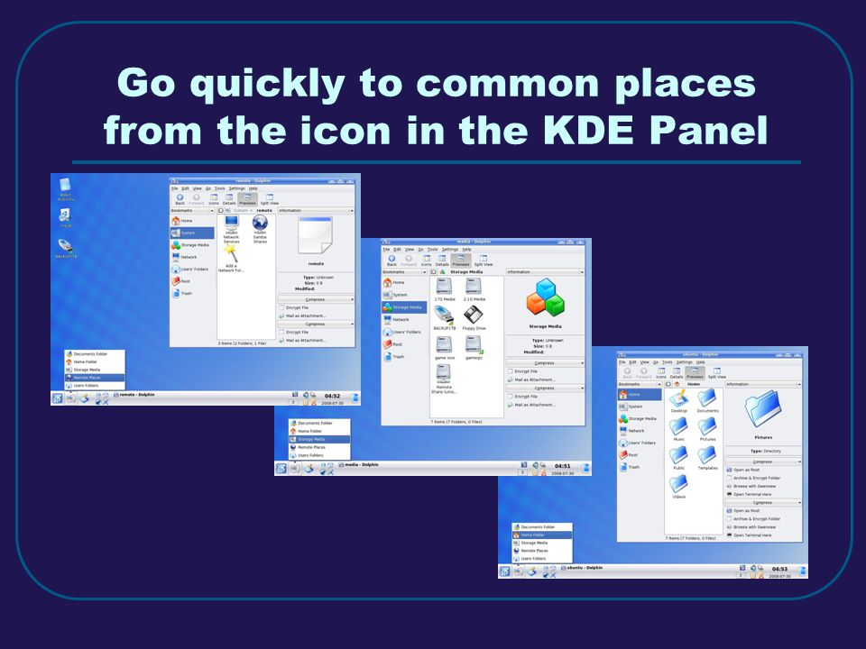 Go quickly to common places from the icon in the KDE Panel