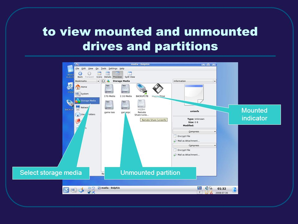 to view mounted and unmounted drives and partitions Select storage media Mounted indicator Unmounted partition