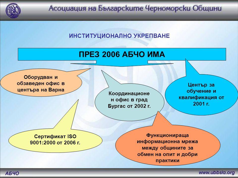 ИНСТИТУЦИОНАЛНО УКРЕПВАНЕ ПРЕЗ 2006 АБЧО ИМА Оборудван и обзаведен офис в центъра на Варна Координационе н офис в град Бургас от 2002 г.