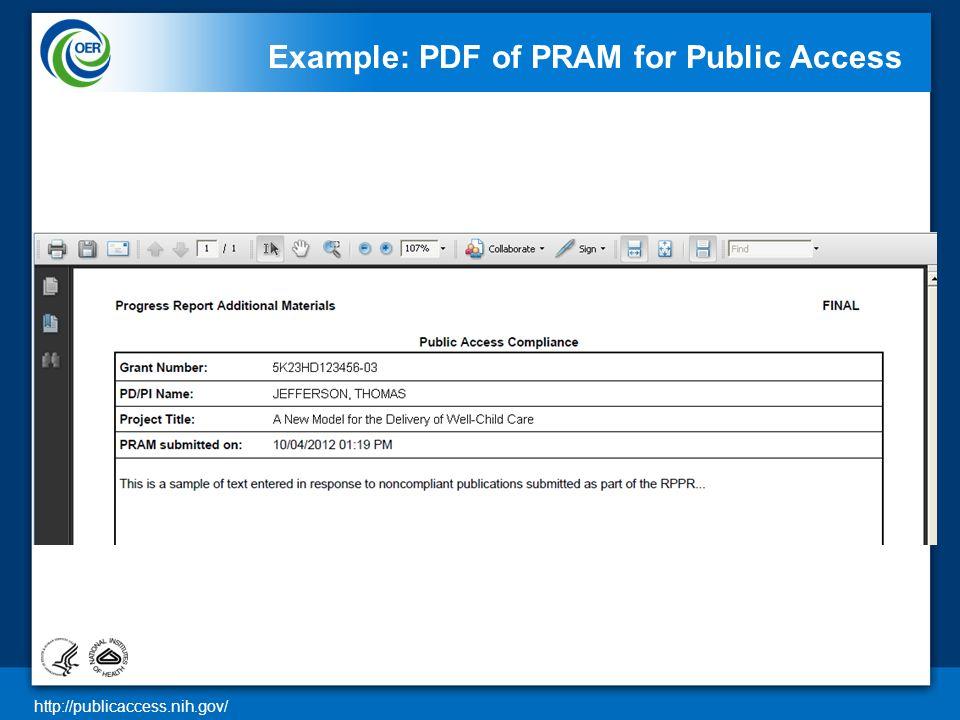 http://publicaccess.nih.gov/ Example: PDF of PRAM for Public Access 26