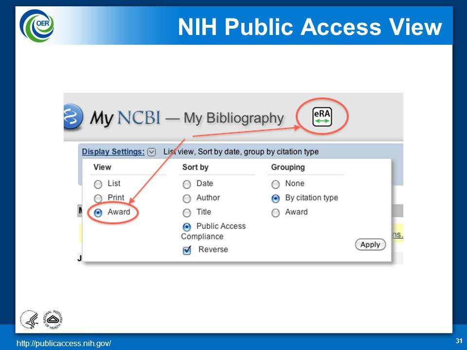 http://publicaccess.nih.gov/ NIH Public Access View 31