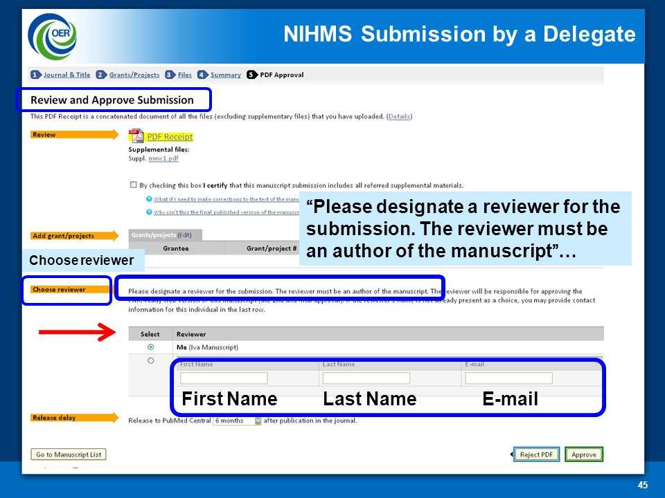 45 Choose reviewer Please designate a reviewer for the submission.