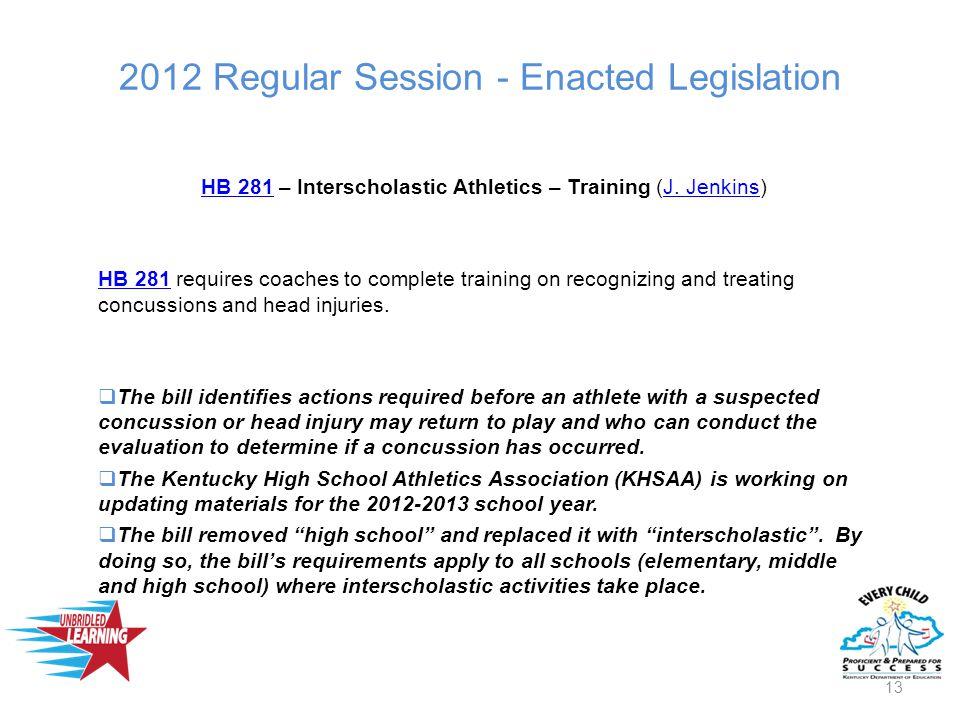 2012 Regular Session - Enacted Legislation HB 281HB 281 – Interscholastic Athletics – Training (J.