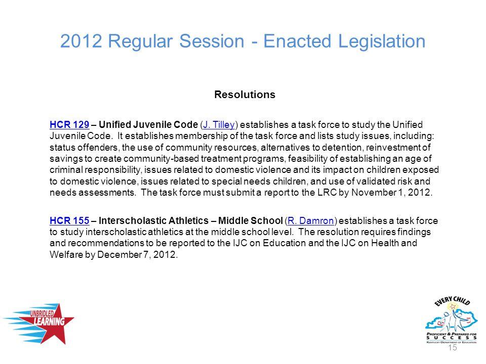 2012 Regular Session - Enacted Legislation Resolutions HCR 129HCR 129 – Unified Juvenile Code (J.