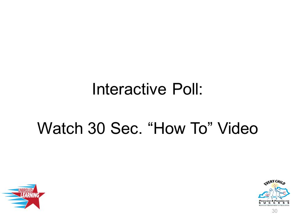Interactive Poll: Watch 30 Sec. How To Video 30