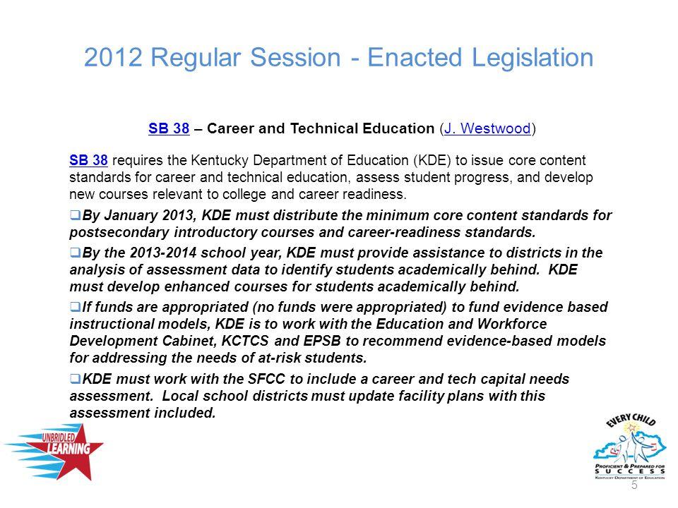 2012 Regular Session - Enacted Legislation SB 38SB 38 – Career and Technical Education (J.