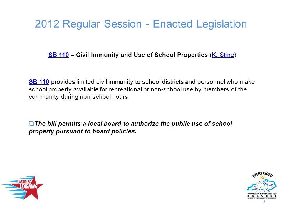 2012 Regular Session - Enacted Legislation SB 110SB 110 – Civil Immunity and Use of School Properties (K.
