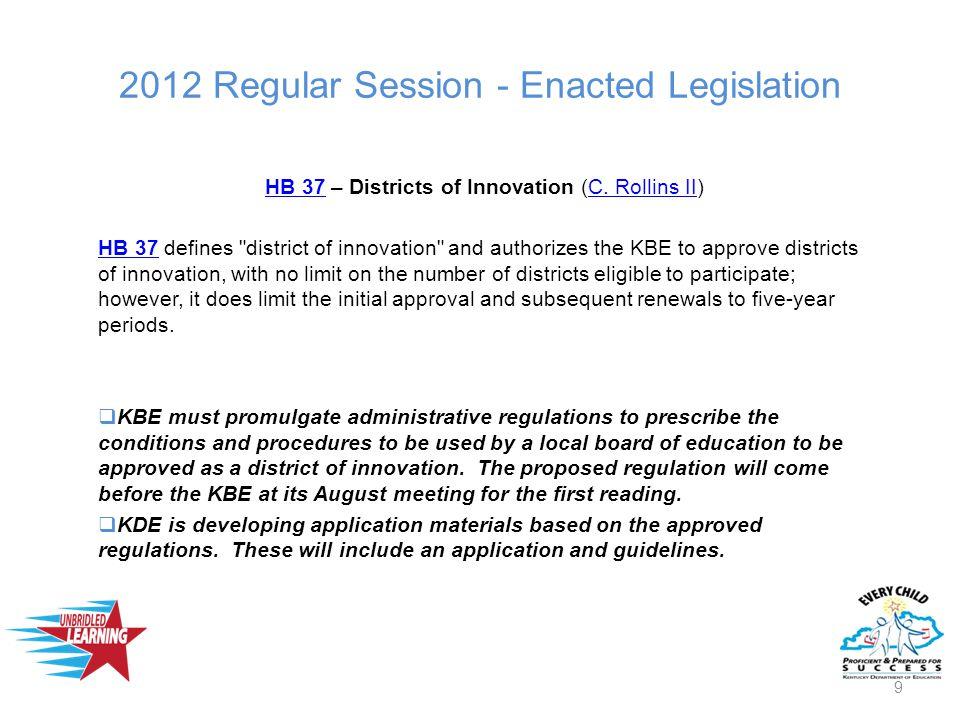 2012 Regular Session - Enacted Legislation HB 37HB 37 – Districts of Innovation (C.