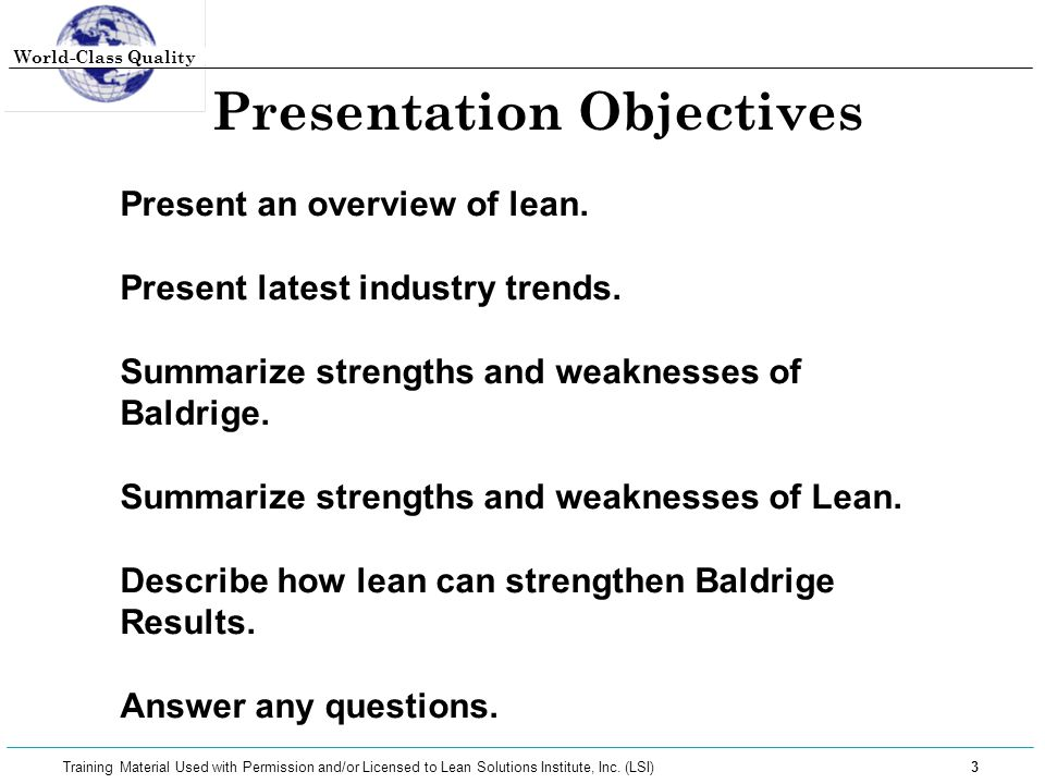 World-Class Quality 14 Training Material Used with Permission and/or Licensed to Lean Solutions Institute, Inc.
