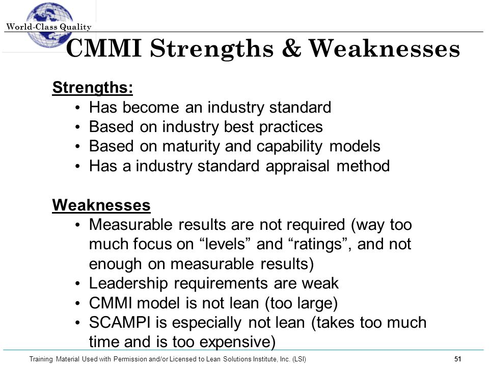 World-Class Quality 51 Training Material Used with Permission and/or Licensed to Lean Solutions Institute, Inc. (LSI) CMMI Strengths & Weaknesses Stre